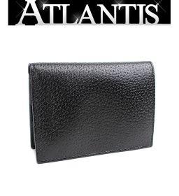 未使用 ブルガリ 二つ折り 財布 メモ帳 レザー 黒