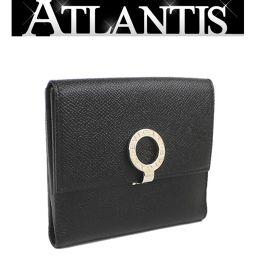 美品 ブルガリ 二つ折り 財布 BB金具 レザー 黒