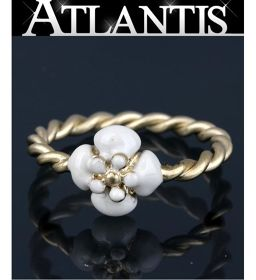 Beauty Item Chanel Flower Motif Ring Gold × White size 11 B14V
