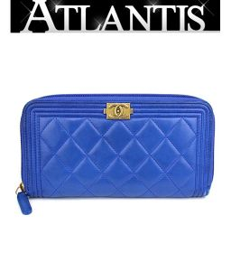 Chanel round zipper wallet Matrasse boy Chanel lum blue