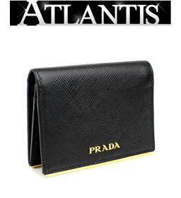 美品 プラダ カードケース 名刺入れ 黒 ブラック G金具