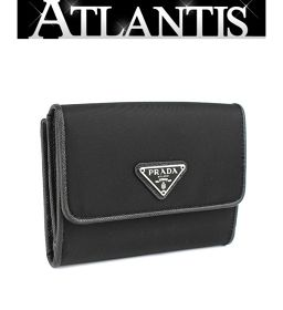 未使用 プラダ Wホック 二つ折り 財布 ナイロン×レザー 黒