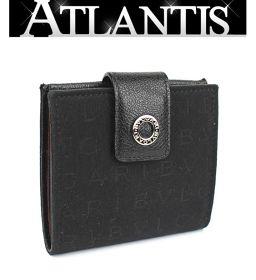 美品 ブルガリ 二つ折り 財布 ロゴマニア キャンバス レザー 黒