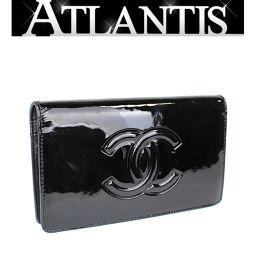 Chanel Camellia Makeup Palette Double fold wallet patent black