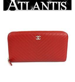 Chanel V Stitch Round Zipper Long Wallet Caviar Skin Red