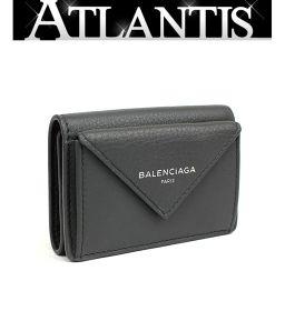 未使用 バレンシアガ ペーパー ミニ ウォレット コンパクト 三つ折り 財布 レザー グレー