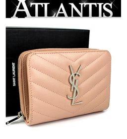 サンローラン パリ SAINT LAURENT PARIS 二つ折り コンパクトジップ 財布 レザー ピンク