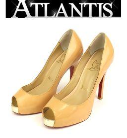 クリスチャン ルブタン オープントゥパンプス 靴 ベージュ size37