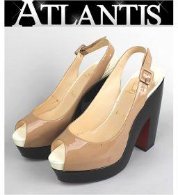 Christian Louboutin open toe pumps sandals shoe beige size 38