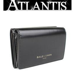 バレンシアガ BALENCIAGA 三つ折り コンパクト 財布 レザー 黒 490621