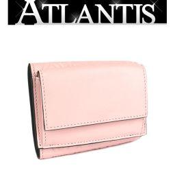 ロエベ LOEWE 三つ折り コンパクト 財布 レザー ピンク