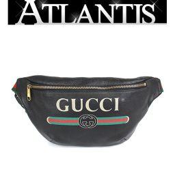 極美品 大人気 グッチ GUCCI ベルトバッグ ウエストバッグ メンズ グッチプリント 黒 530412
