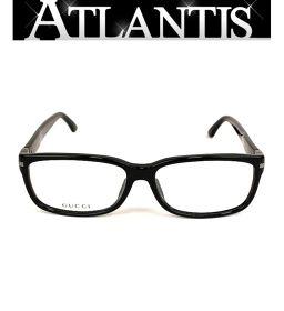 グッチ GUCCI メガネ フレーム 眼鏡 黒 サイドロゴ 伊達メガネ