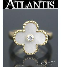 Van Cleef Vintage Alhambra diamond ring white shell yellow gold size51