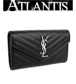 サンローラン パリ SAINT LAURENT PARIS ファスナー付き 二つ折り 長財布 レザー SV金具
