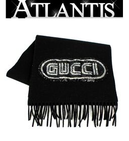 Beautiful goods Gucci GUCCI muffler sequin logo black