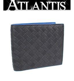 美品 ボッテガ・ヴェネタ BOTTEGA VENETA 二つ折り札入れ 財布 イントレ 黒×青