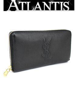 Yves Saint Laurent YVES SAINT LAURENT round fastener long wallet black