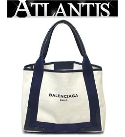 Balenciaga Navy Cabus S Tote Bag Natural Navy