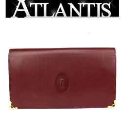 美品 カルティエ Cartier がま口 二つ折り 長財布 マストライン レザー ボルドー