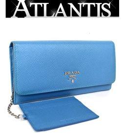 プラダ PRADA ファスナー付き 二つ折り 長財布 レザー パスケース付き ブルー 1MH132