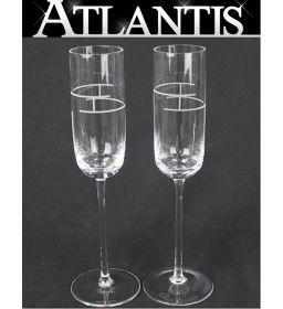 美品 エルメス HERMES シャンパン グラス ワイン グラス ペアセット リズムシリーズ