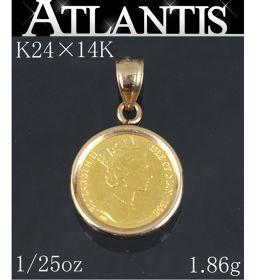 エリザベス2世 マン島キャット 金貨 ネックレストップ 1/25oz 14K K24 1.86g 地金