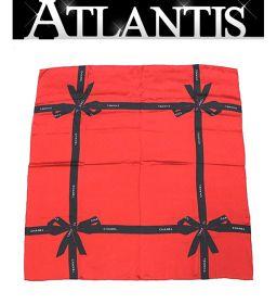 美品 シャネル CHANEL スカーフ リボン柄 レッド×ブラック シルク100% タグ無し