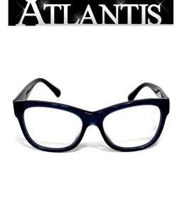 美品 シャネル CHANEL メガネ フレーム 眼鏡 サイドココマーク 青系 度入り 5380-A