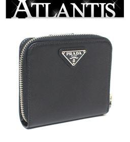 美品 プラダ PRADA コンパクト ジッピーウォレット 二つ折り 財布 レザー 黒 ブラック 1M0522