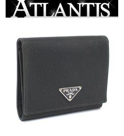 プラダ PRADA 三つ折り コンパクト財布 ナイロン×サフィアーノレザー 黒 ブラック