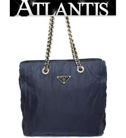 Prada PRADA Chain Shoulder Tote Bag Nylon Navy