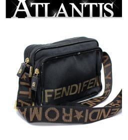 フェンディ FENDI 斜め掛け ミニショルダーバッグ ポシェット ナイロンキャンバス ロゴ 黒 G金具