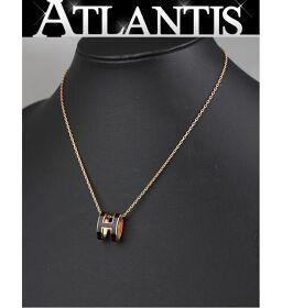 Good Condition Hermes HERMES Pop Ash H Necklace Black x Rose Gold