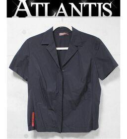 プラダ PRADA プラダスポーツ ジップアップ 半袖シャツ 黒 sizeL