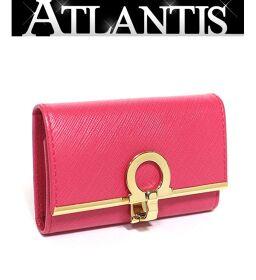 Ferragamo 6-key case with key ring Leather Gancini Pink