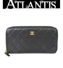 Chanel CHANEL Round Zipper Wallet Lamb Black Black
