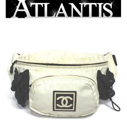 Chanel CHANEL Sport Waist Bag Body Bag Waist Pouch White Nylon