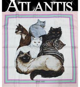 激レア 美品 エルメス HERMES 幻の一品 カレ90 猫 キャット 大判スカーフ ピンク系 シルク100%