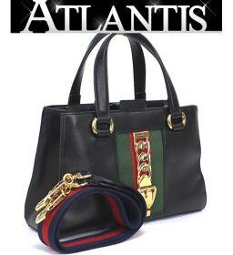 Gucci GUCCI Sylvie 2WAY Handbag Shoulder Bag Black Sherry Line 460381