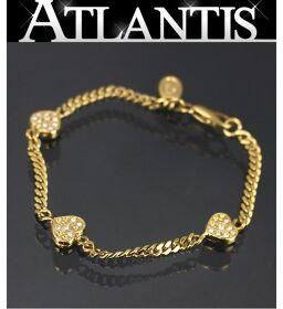 Celine CELINE Rhinestone Heart Bracelet Bangle Gold