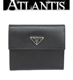 美品 プラダ PRADA 三つ折り コンパクト 財布 サフィアーノレザー 黒