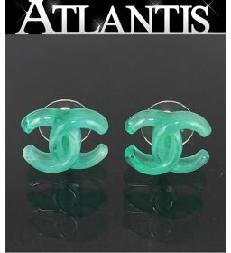 Good Condition Chanel CHANEL Coco Mark Jade Style Earrings Plastic Silver Metal Fittings 04P