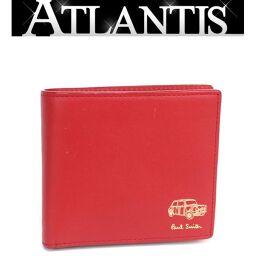 ポールスミス Paul Smith 二つ折り 財布 レザー 赤 レッド