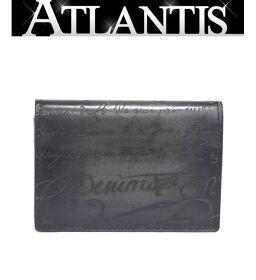 Extreme beauty Berluti Bi-fold card case Business card holder Calligraphy Black Black