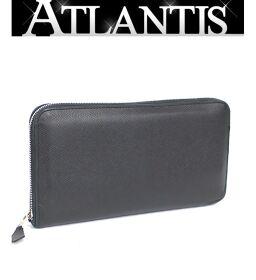 Hermes HERMES Azap Long Round Zipper Wallet All Leather Epson Black Black T Engraved
