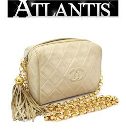 Chanel CHANEL Fringe Mini Matrasse Chain Shoulder Bag Light Beige Lambskin