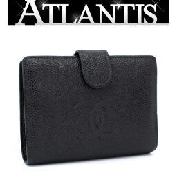 Chanel CHANEL Gamaguchi Bi-Fold Wallet Coco Mark Caviar Black