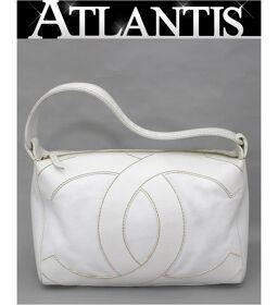 Chanel CHANEL Big Coco One Shoulder Bag Wild Stitch Caviar Skin White