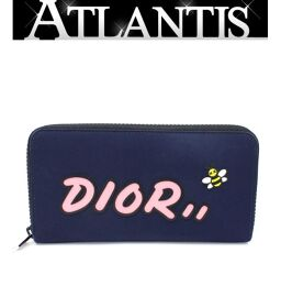 Difficult to obtain Dior x Kaws Dior x KAWS Round zipper wallet Bee Bee Canvas Navy